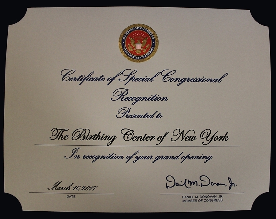 The Birthing Center of NY Certificate of special congressional recognition
