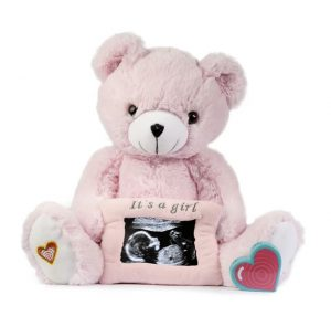 My Baby's Heartbeat Pink Gender Reveal Bear