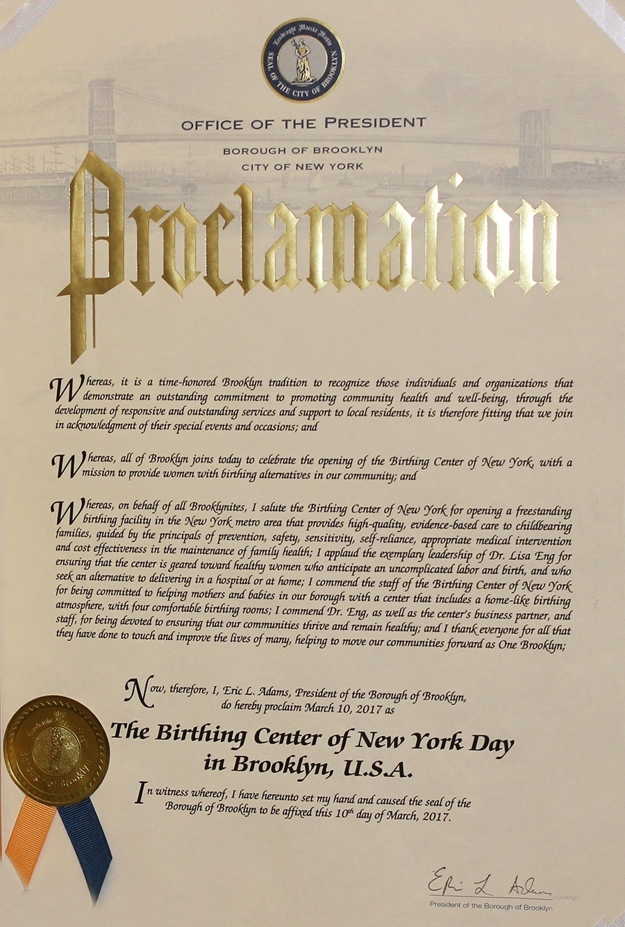 Dr Lisa Eng OBGYN NY proclamation