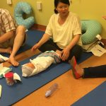 Mom listening in on the birthing class
