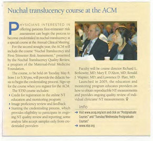 ACOG Nuchal translucency Annual Clinic Meeting