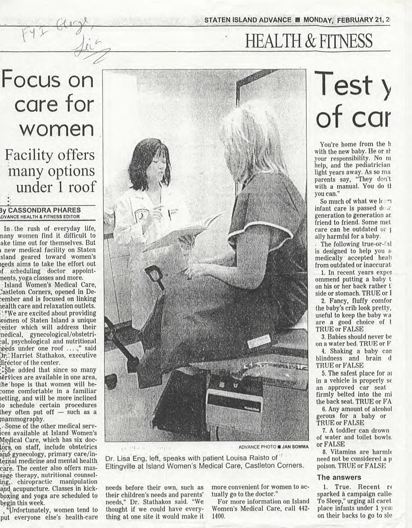 Dr. Lisa Eng featured on the Staten Island Advance